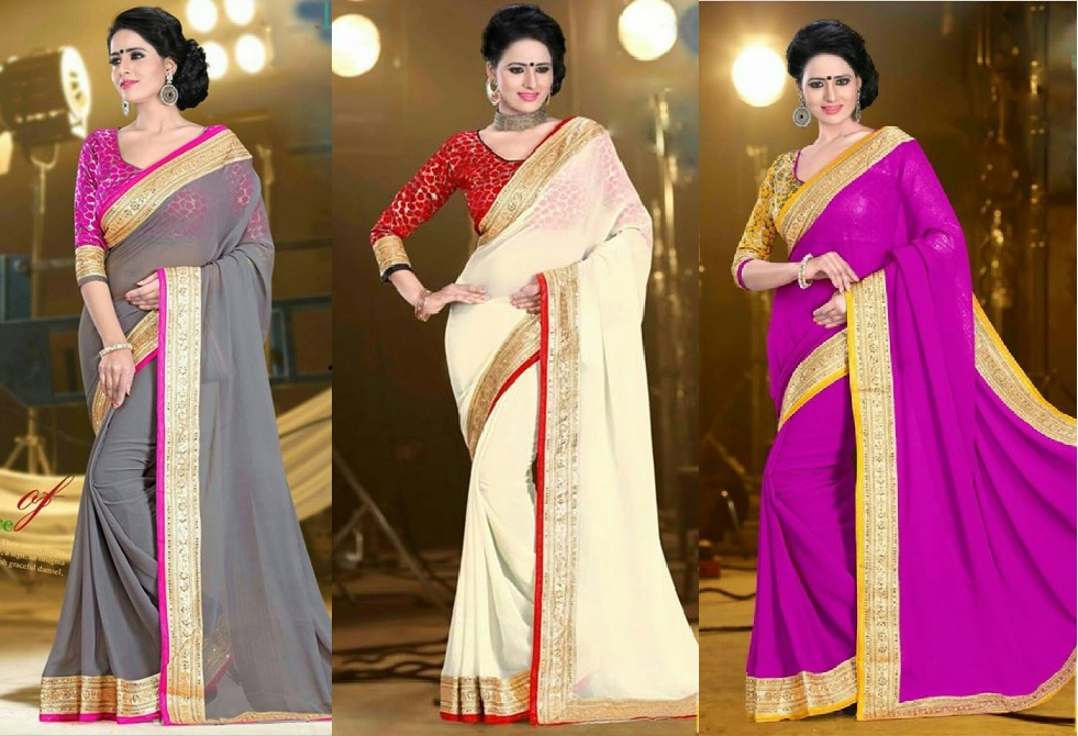 Georgette Saree with the designer blouse… .